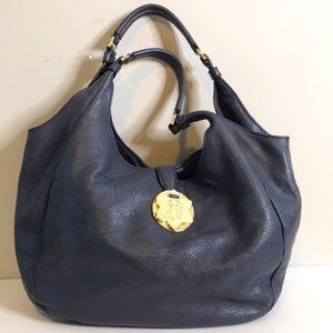 Drapper James Blue Hobo Leather Handbag - LARGE